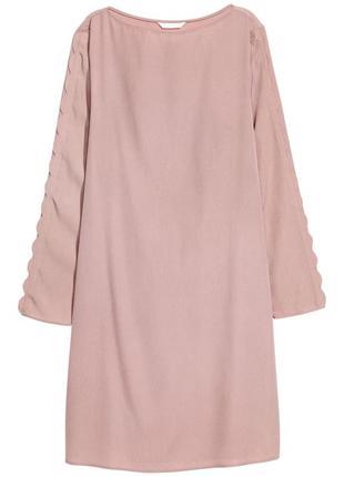 Пудровое розовое нежное платье до колен длинный рукав без застёжки