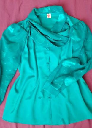 Блуза шелк бирюзовая шелковая размер 46-48