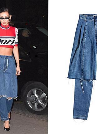 Дизайнерские брендовые джинсы demi-denims от ksenia schnaider с высокой посадкой оригинал