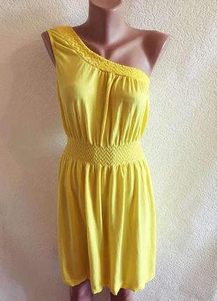 Яркое желтое платье на одно плечо ocean club 46-48р