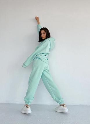 💕💖 женский спортивный костюм мятный oversize теплый трехнитка флис худи3 фото