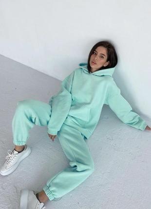 💕💖 женский спортивный костюм мятный oversize теплый трехнитка флис худи