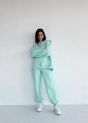 💕💖 женский спортивный костюм мятный oversize теплый трехнитка флис худи4 фото