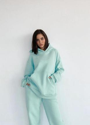💕💖 женский спортивный костюм мятный oversize теплый трехнитка флис худи5 фото