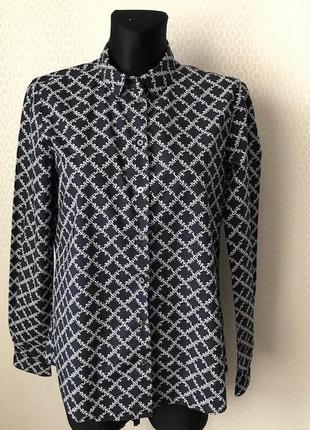 Крутая темно-синяя рубашка белый паттерн от marco polo размер s-m