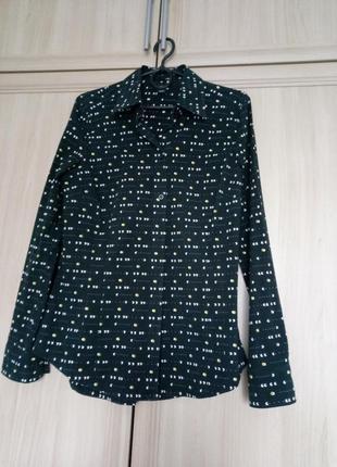 Рубашка с длинным рукавом черная в принт