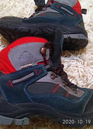 Кожаные зимние трекинговие ботинки,черевики, malinowy