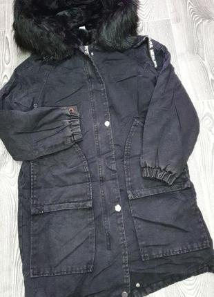 Джинсова чорна парка на хутрі / джинсовая куртка с мехом