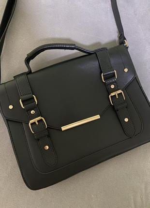 Идеальная чёрная сумка портфель через плечо