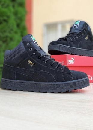 Стильные мужские кроссовки puma suede чёрные