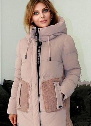 Модная зимняя женская куртка с овчиной mishele 44-52 размер
