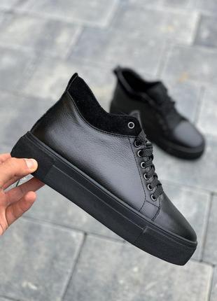 💥 новинка стильные высокие кеды ботинки кожаные