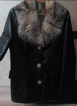 Натуральная кожаная куртка на меху дубленка