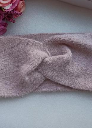 Новая крутая ангоровая повязка чалма, розовая пудра