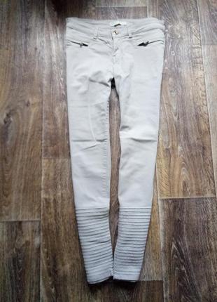 Светлые,  бежевые брюки,  джинсы zara,  размер 40
