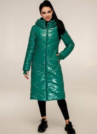 Пуховик куртка лак лаковый стильный зима, 48-50