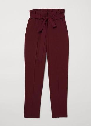 Бордовые брюки на поясе zara