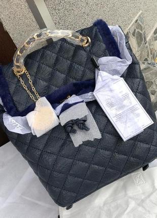 Темно синий рюкзак с меховой окантовкой