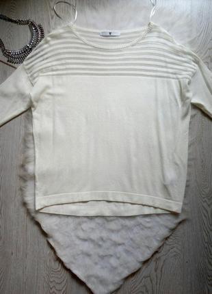 Белая кофта лонгслив свитер реглан с сеточкой сверху рукавами батал оверсайз большой
