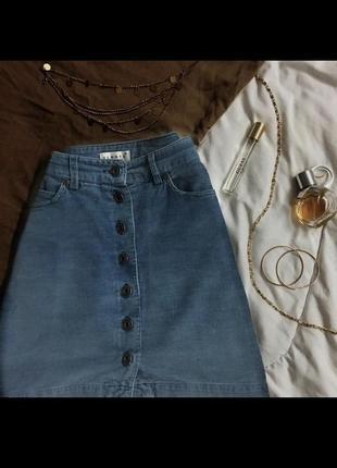 Вельветовая мини юбка | цвет джинс