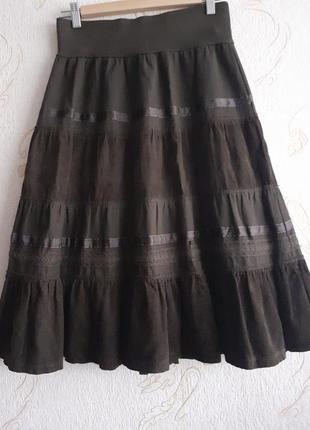 Коттоновая юбка с вставками из микровельвета