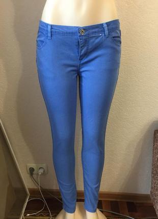 Голубые джеггинсы с высокой посадкой джинсы узкие размер 46
