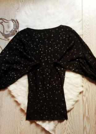 Черная кофта в белые звезды летучая мышь оверсайз джемпер пышными широкими рукавами стрейч