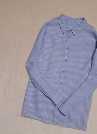 Льняная синяя рубашка в белую полоску длинный рукав батал большой размер 22 m&s