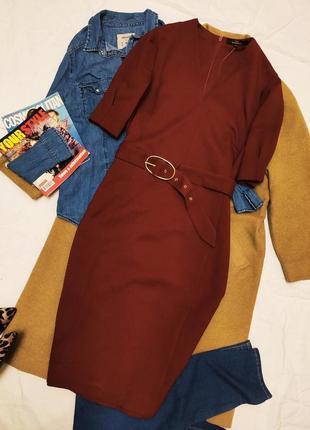 Платье бордо марсала миди классическое с поясом next