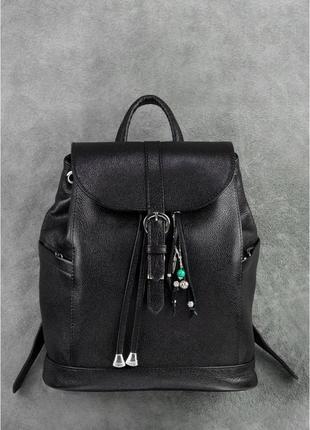 Новый женский кожаный городской чёрный рюкзак