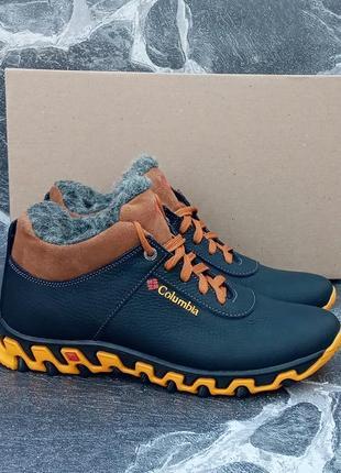 Мужские зимние ботинки columbia city winter boots черные,кожаные,с мехом