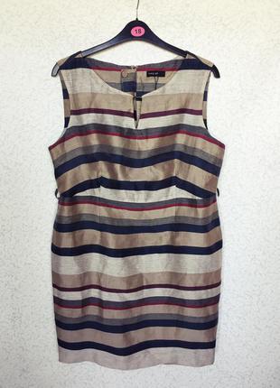 Легкое красивое платье футляр autograph (m&s) -  88% лен большой размер 52-54