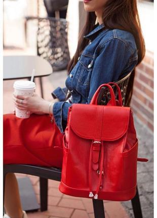 Новый женский кожаный красный городской рюкзак