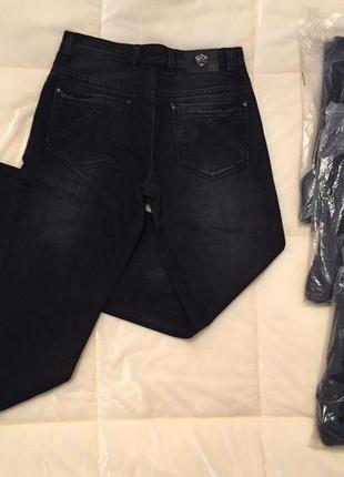 Чёрные джинсы утепленные штаны брюки