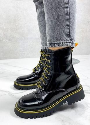 Хит сезона!!! черные лаковые ботинки