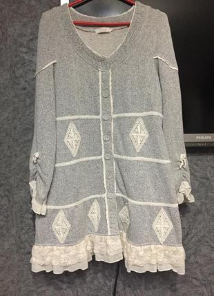 Кардиган, платье-  туника-стиль бохо