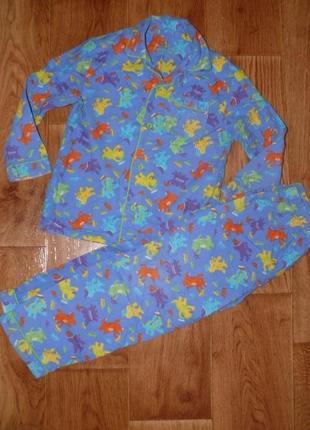 Пижама хлопковая на мальчика ,байковая на 6-7 лет