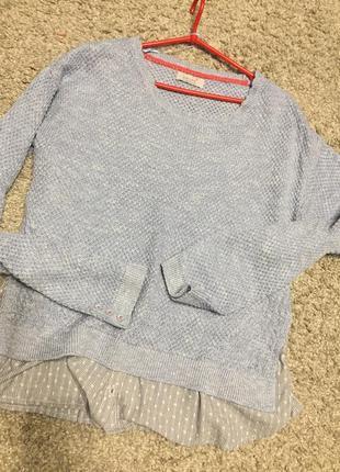 Оригинальный нежно голубой свитерок  реглан