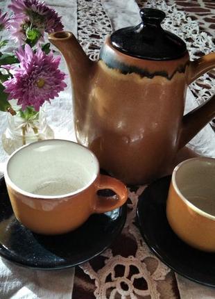 Кофейный керамический набор на две персоны