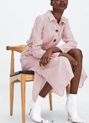 Zara шикарное миди рубашка платье в полоску и с поясом 😍