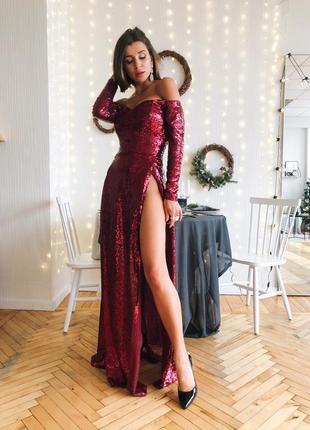 Шикарное вечернее платье блестящее пайетка