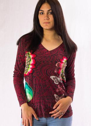 Реглан женский красно--серый с яркими цветками desigual (l)