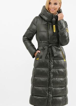 Куртка-пальто длинная женская зимняя с капюшоном размеры: 42-52
