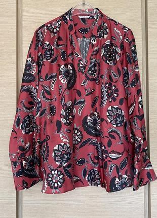 Блуза шёлковая эксклюзив премиум класса caliban размер 44/ xxl