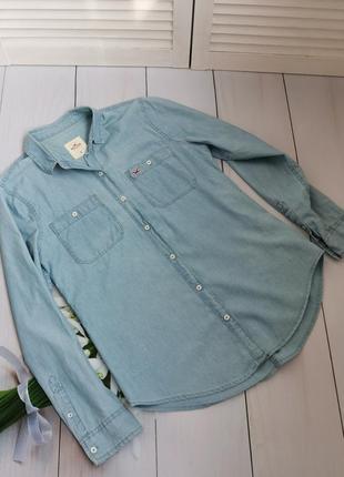 Джинсовая тонкая рубашка размер м-л hollister оригинал