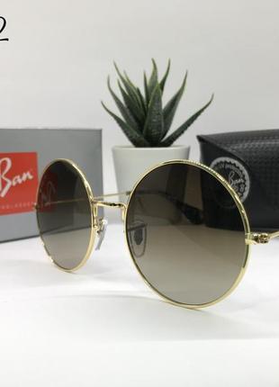 Солнцезащитные очки кругляшки rayban rb3592 золотистая оправа