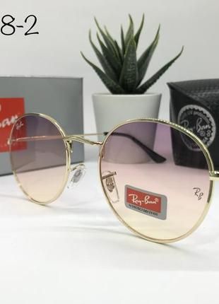 Солнцезащитные очки кругляшки rayban rb3448-2 персиковые линзы