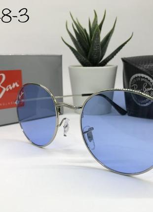 Солнцезащитные очки кругляшки rayban rb3448-3 синие линзы