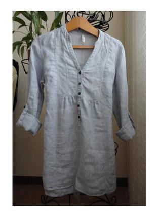 Рубашка лен,в тоненькую полоску
