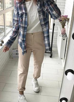 Пудровые джинсы на высокой посадке размер 16